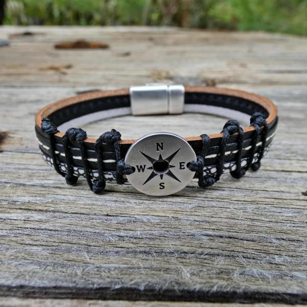 Compass Men's leather bracelet