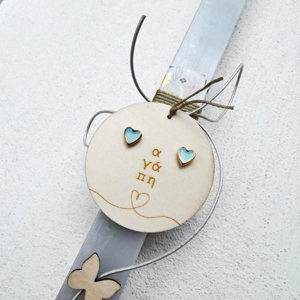 Λαμπάδα με σκουλαρίκια Love