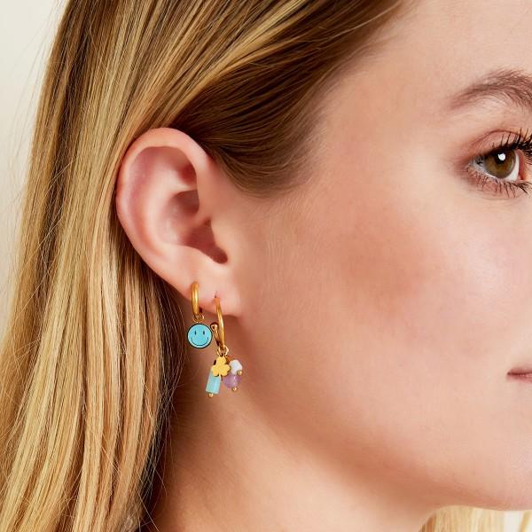 Stainless Steel Stones Hoop Earrings
