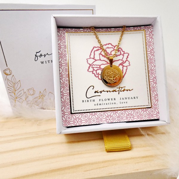 Κολιέ Birth Flower - Carnation for January