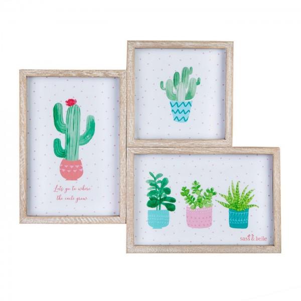 Ξύλινη Κορνίζα Triple Cactus