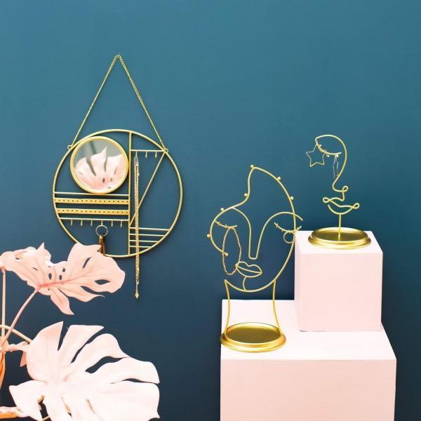 Σταντ Abstract Gold Jewellery Hanger With Mirror