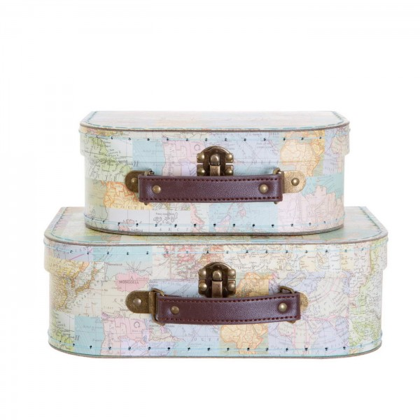 Vintage Map Collage Suitcases - Set of 2 (sold separately)