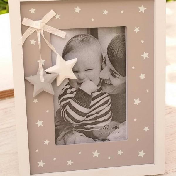 Grey & White Star Photo Frame