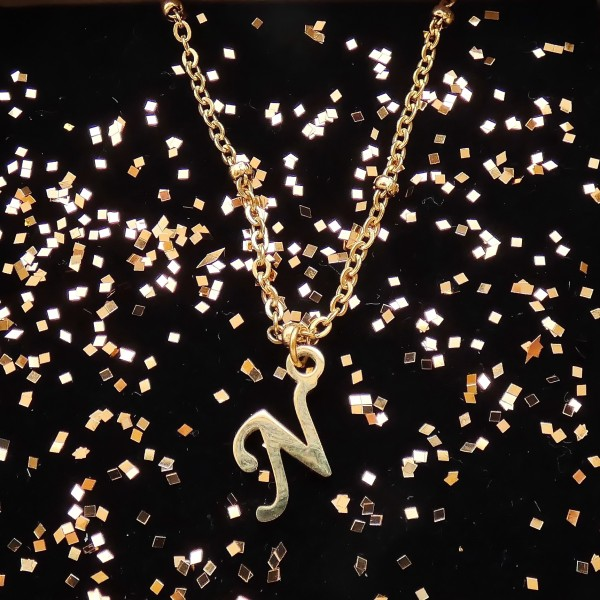 """What's your Name- Stainless Steel Initial """"N"""" Necklace"""