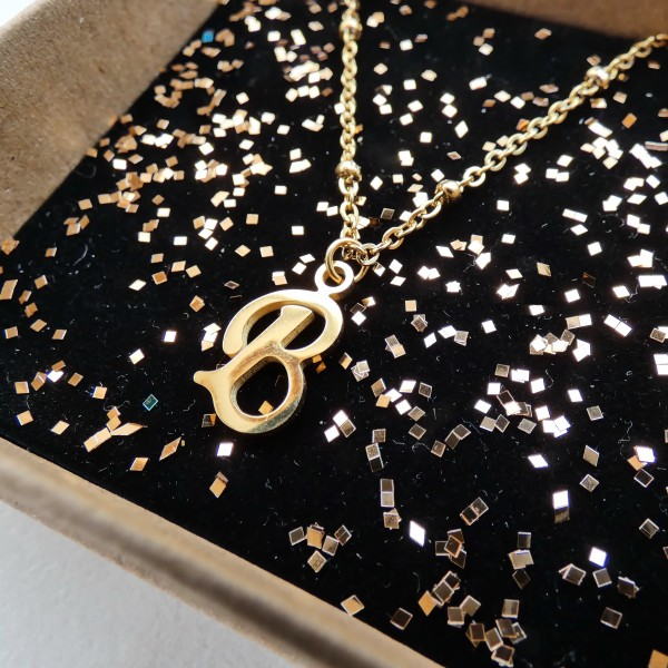 """What's your Name- Stainless Steel Initial """"B"""" Necklace"""