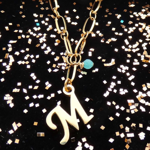 """What's your Name- Stainless Steel Initial """"M"""" Necklace"""