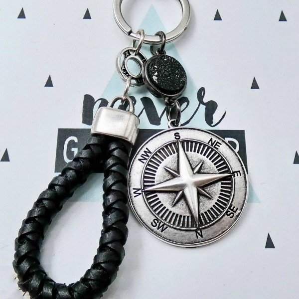 Men's Leather Keyring North Star Compass